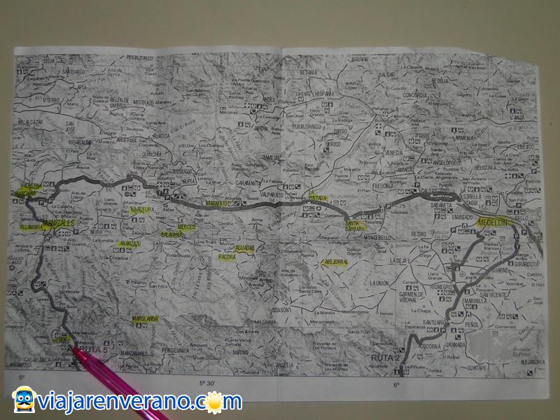 Mapa fotocopiado Ruta MDE-MZL.